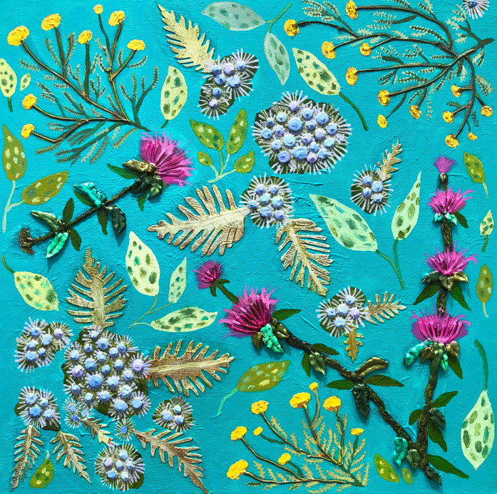 Mist Flowers, Bee Balm & Santolina  Oil, acrylic and fabric on canvas.