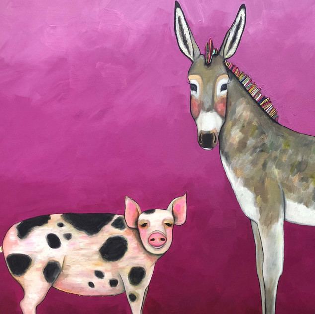 """Donkey and Pig Tails 84x60"""" $8700"""