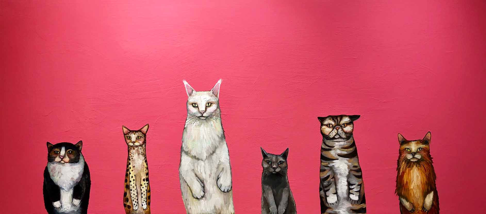 """Cats  36"""" x 80""""  $4100  Oil and acrylic on wood. This is an original oil painting. The sides are painted gloss black and there is a wire on the back so it is ready to hang with no framing needed.   Contact eli@elihalpin.com for purchasing. Payment plans accepted."""