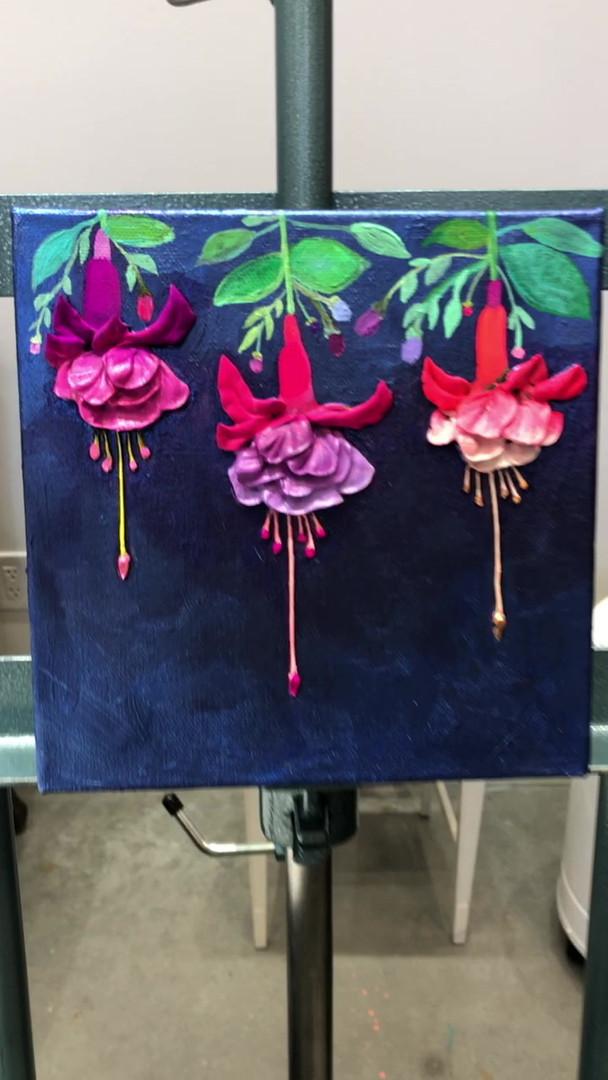 "Fuschia Flowers in Metallic Cobalt Blue 8""x8"" $626"