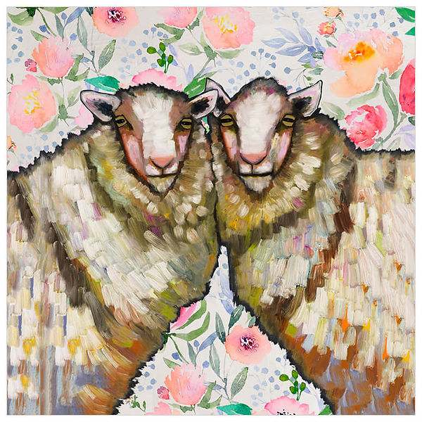 Sheep Duo Floral by Eli Halpin