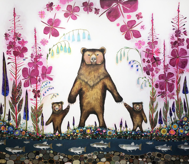 "Mama Bear  $9800 SOLD  84"" x 72""  Oil, acrylic, ribbon, fabric, beaded medallions, velvet and lace on a handmade heavy duty canvas."