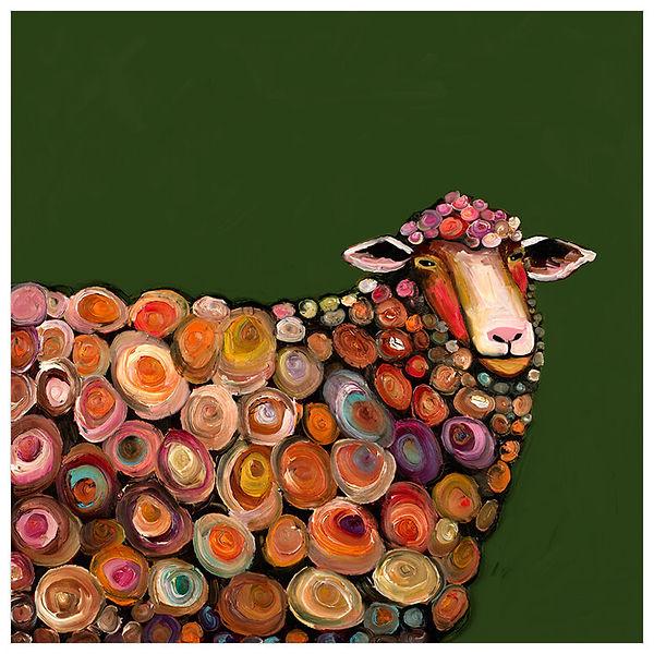 Lamb On Olive Green by Eli Halpin