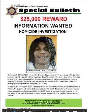 Homicide Investigation; Victim Brandon Davis Age 22