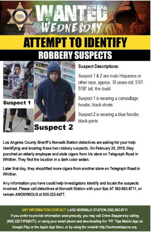 HELP IDENTIFY ROBBERY SUSPECTS
