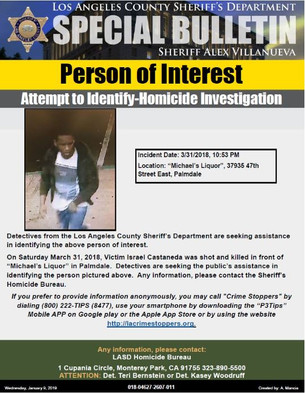 ATTEMPT TO IDENTIFY: PERSON OF INTEREST