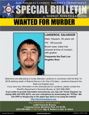 WANTED FOR MURDER-SALVADOR LANDEROS