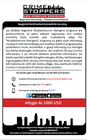 LA Crime Stoppers Lithuanian information