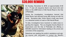 REWARD FOR INFORMATION IN HOMICIDE INVESTIGATION