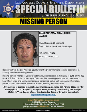 MISSING PERSON - FRANCISCO JAVIER GUADARRAMA