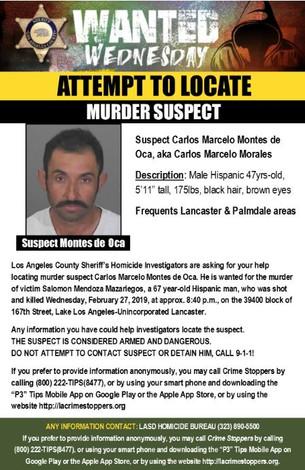ATTEMPT TO LOCATE MURDER SUSPECT