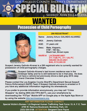 WANTED: POSSESSION OF CHILD PORNOGRAPHY ANTELOPE VALLEY