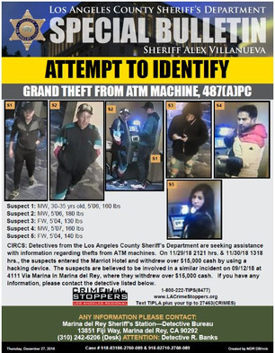 ATTEMPT TO IDENTIFY ATM THEFT SUSPECTS