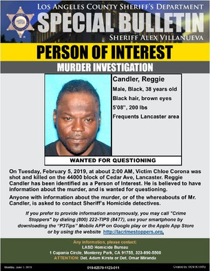 PERSON OF INTEREST- HOMICIDE