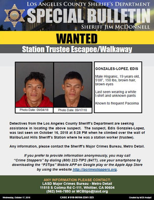 WANTED ESCAPEE FROM STATION