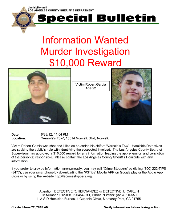 Homicide Dets Announce $10K Reward in 2012 Shooting Death of Norwalk Tow Truck Drive