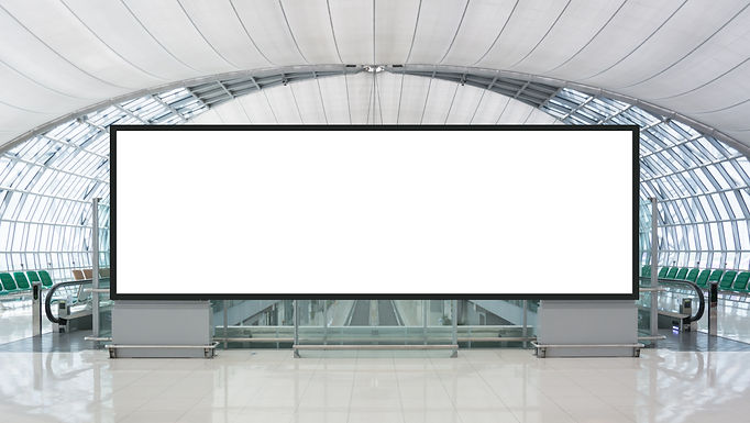 Blank advertising billboard in the Airpo