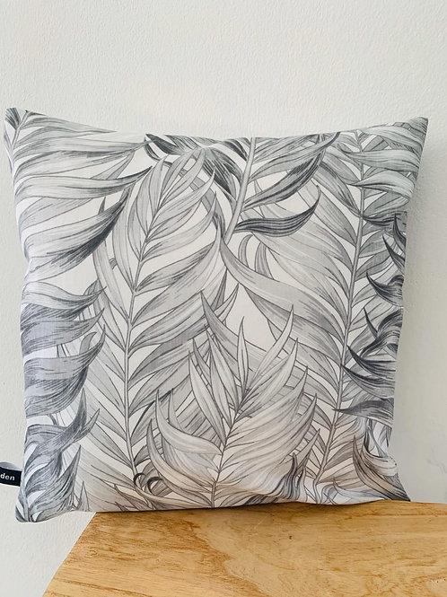 Kissenhülle -grau Töne Blätter