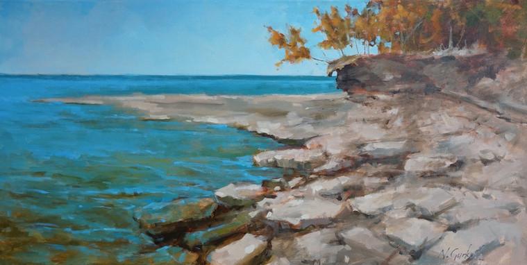 Rocky beach, 18 x 36 inch, oil on canvas