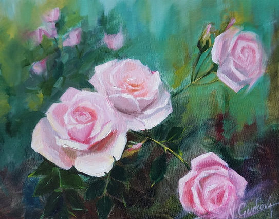 Roses, 11 x 14 inch, oil on canvas, sold.