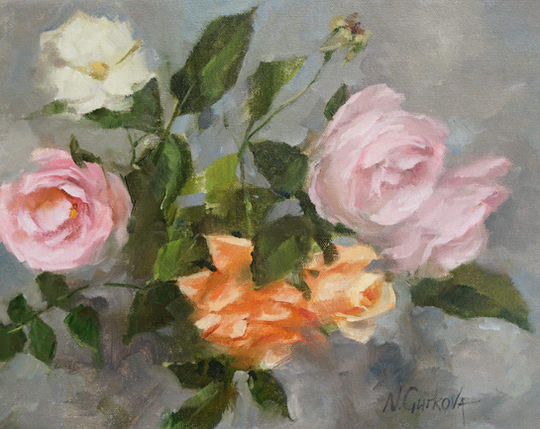 Roses on gray, 11 x 14 inch, oil on canvas