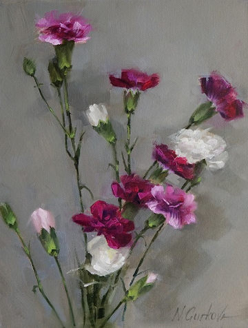 Carnations, 11 x 14 inch, oil on canvas