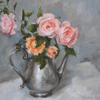 Roses in a silver pot, 18 x 18 inch, oil on canvas