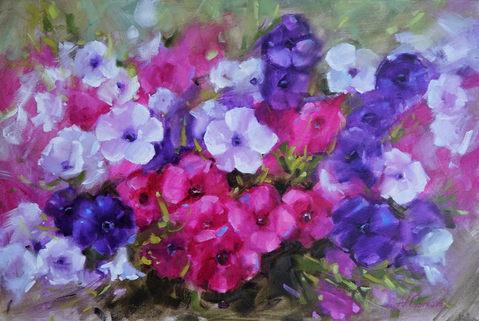 Petunias-24-36-inch-oil on canvas-Nadia