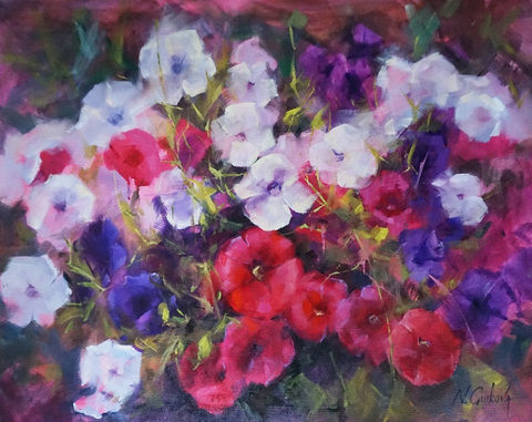 Petunias, 22 x 28 inch, oil on canvas, sold
