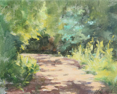 Sunny trail, 11 x 14 inch, oil on canvas