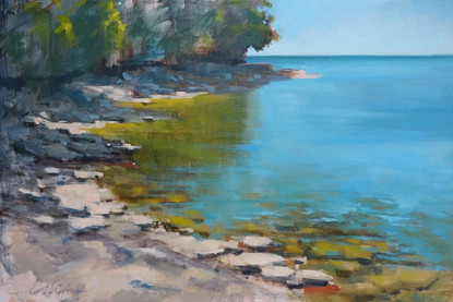 Lakeshore lodge beach, 20 x 30 inch, oil on canvas