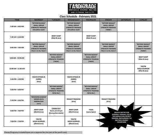 Tardigrade Class Schedule - February 202