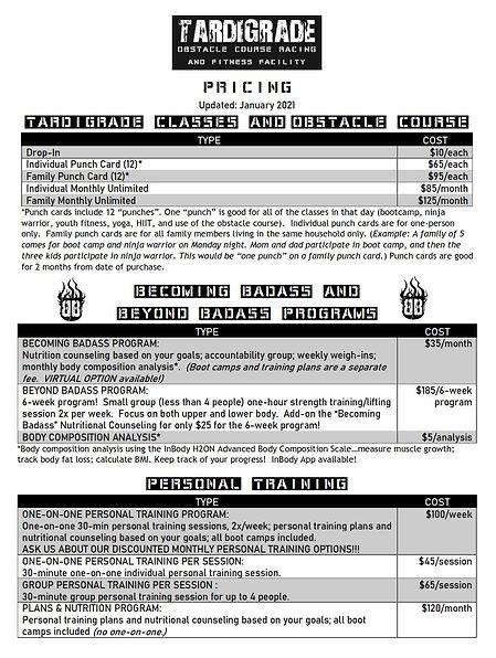 Tardigrade Program Pricing - January 202