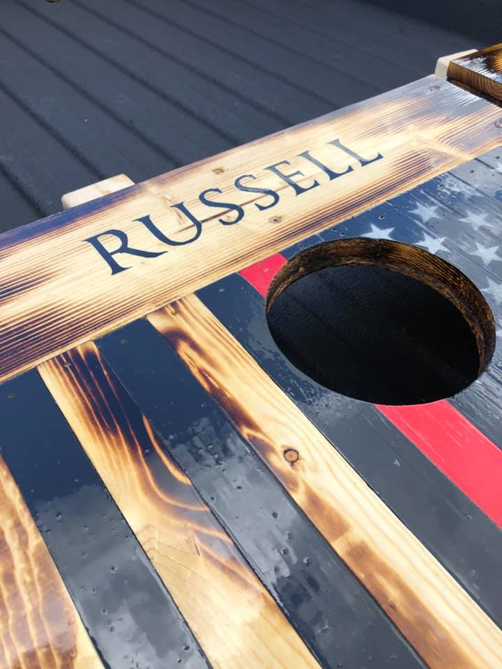 Russell close up cornhole boards
