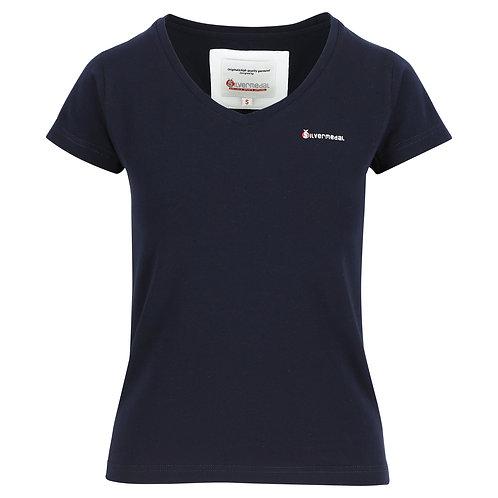 Silvermedal effen donkerblauw getailleerd sportief dames T-shirt voorzijde