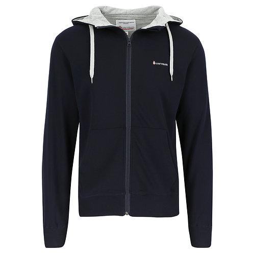 Silvermedal donkerblauwe joggingvest met kap voor heren voorzijde