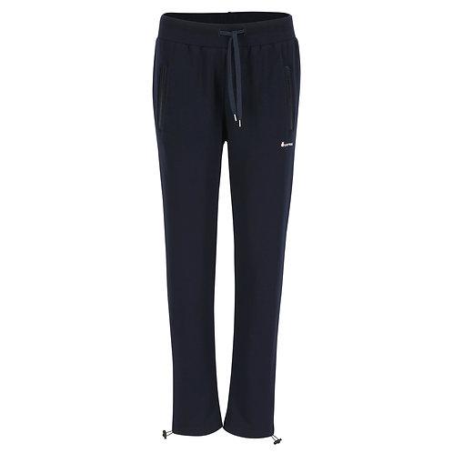 Silvermedal donkerblauwe damesjoggingbroek met rechte pijpen en hoge taille en regelbare sluiting onderaan voorzijde