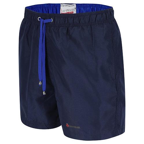 Silvermedal donkerblauwe zwemshort voor heren met felblauwe details voorzijde
