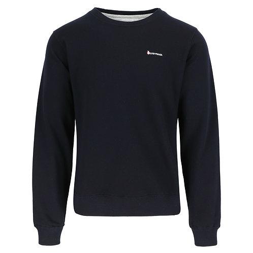 Silvermedal donkerblauwe sportieve herensweater met ronde hals voorzijde