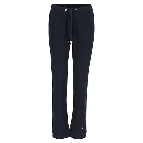 Silvermedal donkerblauwe damesjoggingbroek met rechte pijpen en hoge taille voorzijde