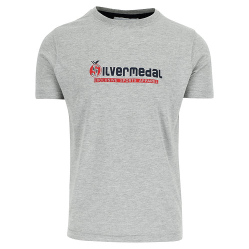Silvermedal grijze sportieve T-shirt met logo voor heren voorzijde