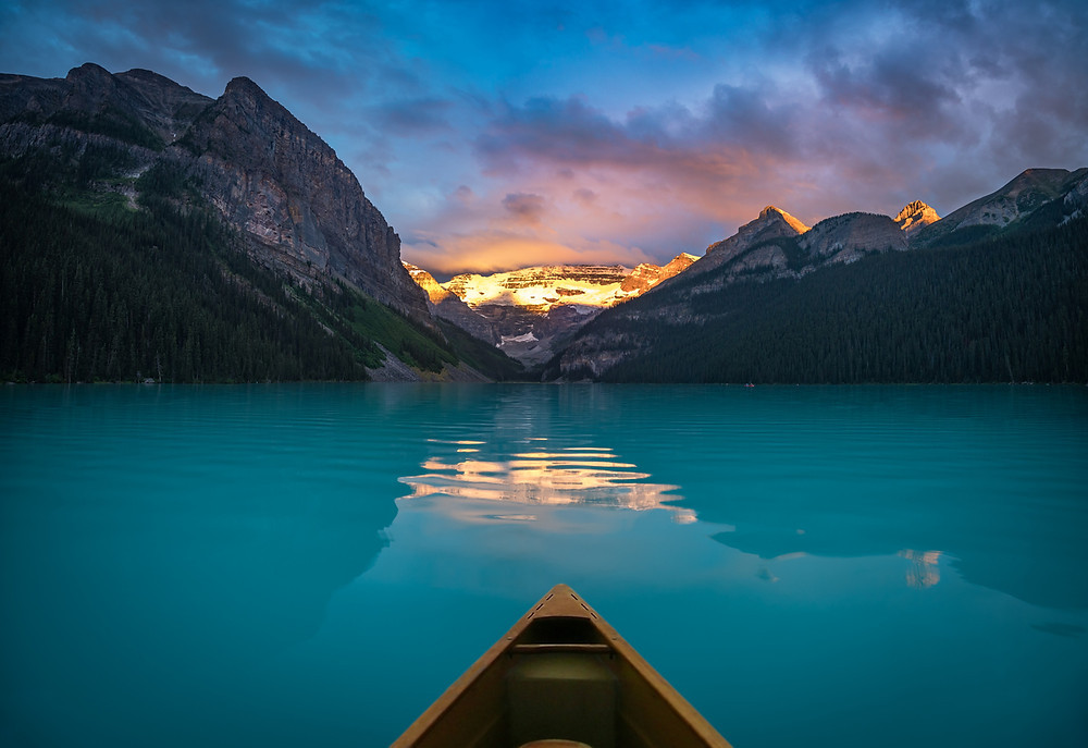 Mindful Sunrise Canoe | Lake Louise Wellness | Alberta, Canada