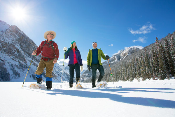Snow shoeing on Lake Louise, Canada