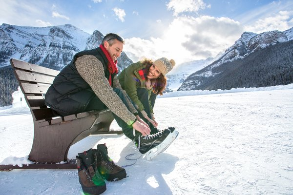 Skating on Lake Louise, Canada