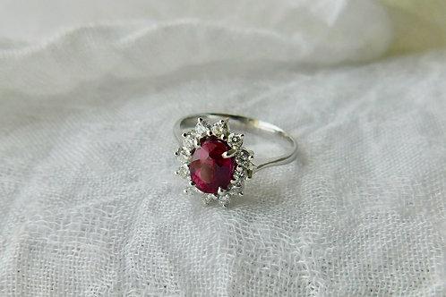 1.4ct 大粒ルビーとダイアモンドの指輪 18k