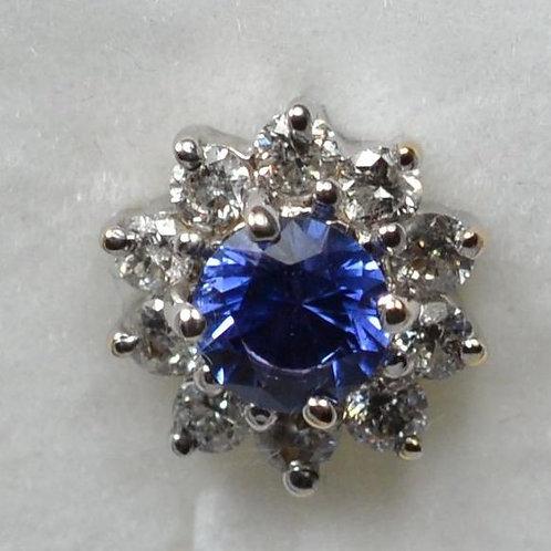 ブルーサファイアとダイアモンドのハロセッティング 18k