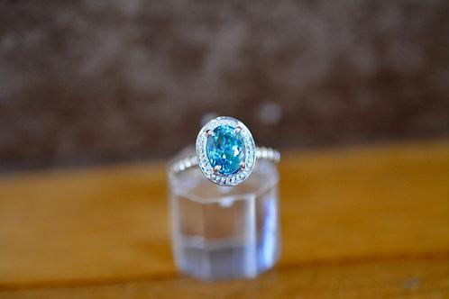 ブルージルコンの指輪 18K
