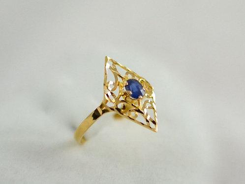 アラビックデザイン ブルーサファイア 指輪 21k