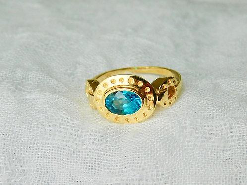 1.6ct  ブルージルコン18Kの指輪