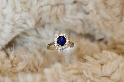 1ct ブルーサファイアとダイアモンドの指輪 18k
